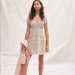NWT Silk Ruffle-Neck Mini Dress